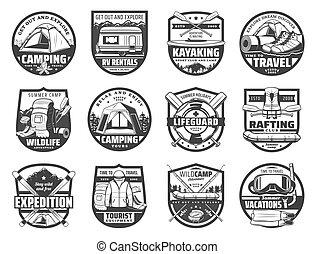 Sport adventure, travel equipment isolated icons