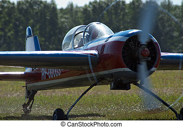 Sport airplane in airshow. Airport Mochishe, Novosibirsk,...