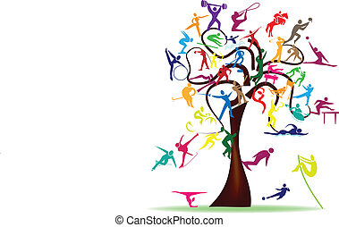 sport, albero, colorito, icone