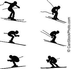sport, alpin, satz, gruppe, ski fahrend