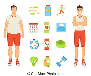 Sport and Diet Men and Icons Vector Illustration - Sport and...