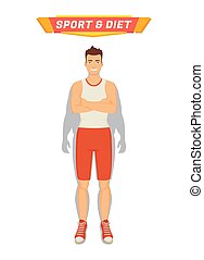 Sport and Diet Poster Man Vector Illustration - Sport and...