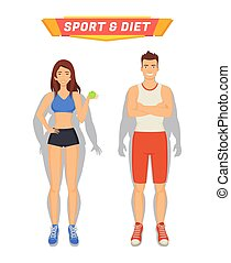 Sport and Diet Poster People Vector Illustration - Sport and...