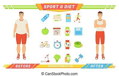 Sport and Diet Transformation Vector Illustration - Sport...