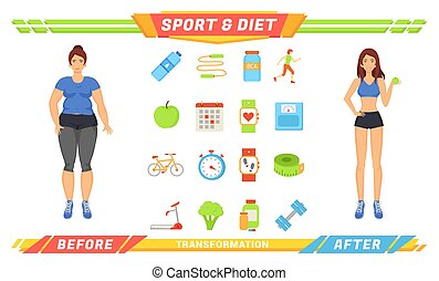 Sport and Diet Women Poster Vector Illustration - Sport and...
