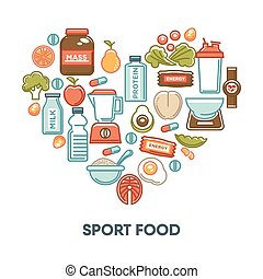 Sport and fintess healthy food nutrition vector heart poster of dietary icons