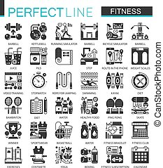 Sport and Fitness classic black mini concept symbols. Vector modern icon pictogram illustrations set.