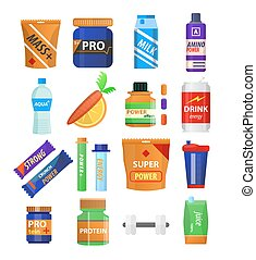 Sport and fitness nutrition and dietary supplements vector...