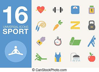 Sport and healthy life concept flat icon set of jogging,...
