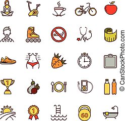 Sport and healthy life thin line icons set