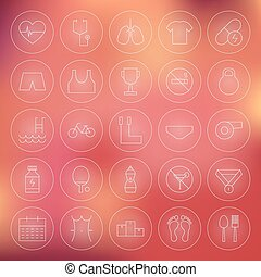 Sport and Healthy Lifestyle Circle Line Icons Set