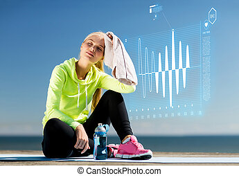 woman resting after doing sports outdoors - sport and ...