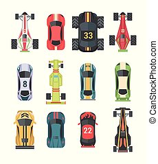 Sport and racing cars - set of modern vector elements