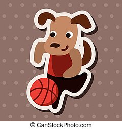 sport animal dog cartoon elements vector
