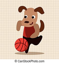 sport animal dog cartoon elements vector