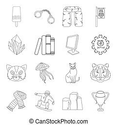 sport, animal, education and other web icon in outline style. beauty, medicine, mining icons in set collection.