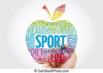 Sport apple word cloud with marker