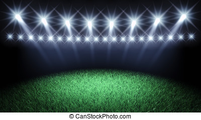 Sport arena - Sports arena spotlights and turf , 3d...