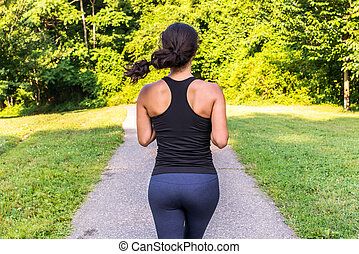 Sport asian woman running outdoors