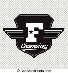 Sport athletic champions college varsity baseball football logo emblem
