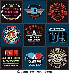 Sport athletic college baseball football logo emblem collection. Graphics and typography t-shirt design for apparel.