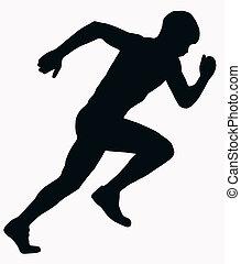 sport, atlet, mandlig, -, i fuld fart, silhuet