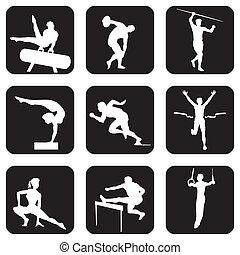 sport, atletic, icônes