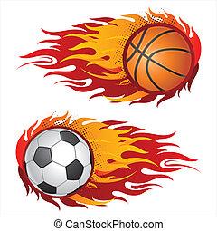sport ausrüstungen, mit, feuerflammen