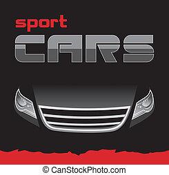 sport, autó., háttér, kártya