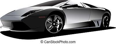 sport, autó, képben látható, a, road., vektor, ábra