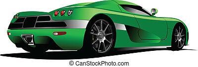 sport, autó, képben látható, a, road., vektor, beteg