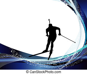biathlon athlete - Sport background set with biathlon...