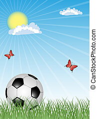 Sport background with a soccer ball