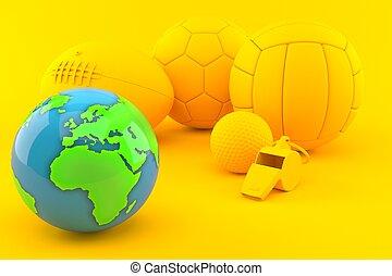 Sport background with world globe