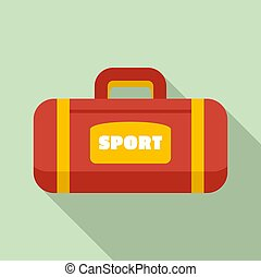 Sport bag icon, flat style