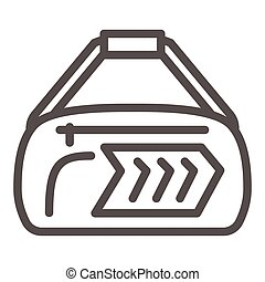 Sport bag line icon, Gym concept, fitness bag sign on white background, Duffle handbag icon in outline style for mobile concept and web design. Vector graphics.