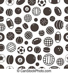 Sport ball silhouettes seamless pattern