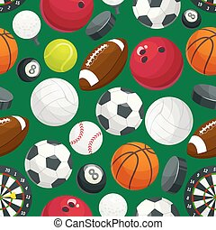 Sport balls and equipment seamless pattern