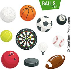 Sport balls and game items vector icons set