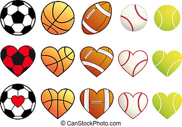 sport balls and hearts, vector set - football, basketball, ...
