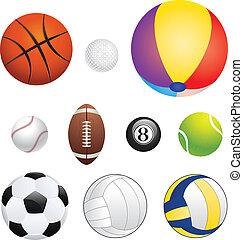 Sport Balls - Different sport balls set on white background.