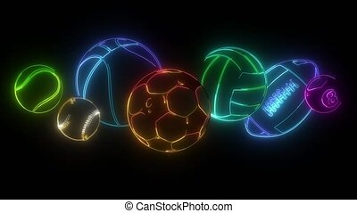 Sport balls digital neon video animation