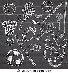 Sport balls Hand drawn sketch set