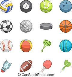 Sport balls icons set, cartoon style