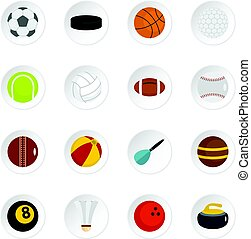 Sport balls icons set in flat style