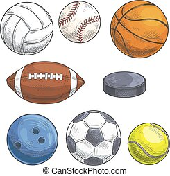 Sport balls set. Hand drawn color pencil sketch icons.