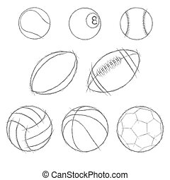 sport balls sketch icon set