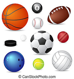 Vector illustration of sport balls over white