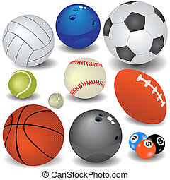 Sport Balls - Vector illustration of ten colored sport balls...