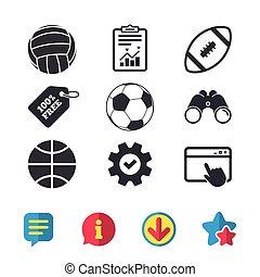 Sport balls. Volleyball, Basketball, Soccer. - Sport balls...